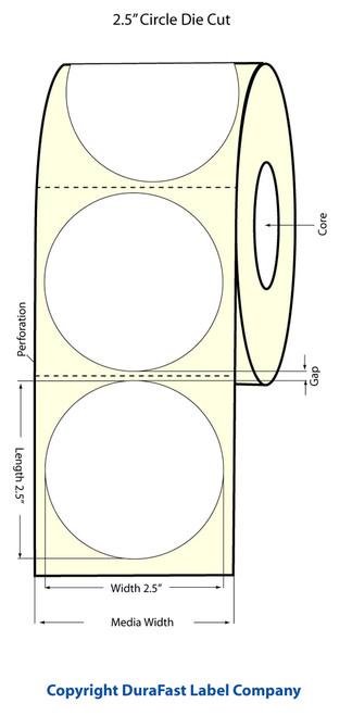 Primera LX400 2.5 inch Circle Glossy BOPP Labels | Primera LX400 Labels | Labels