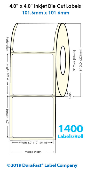 "Inkjet 4""x4"" High Gloss Paper Labels | 1400 /Roll | 4 Rolls/Carton"