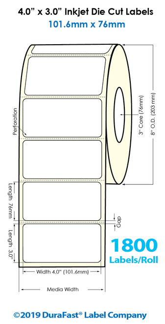 "Inkjet 4""x3"" Glossy Polypropylene Labels | 1800 /Roll | 4 Rolls/Carton"