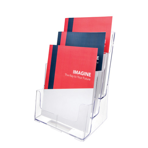 Deflecto 3-Tier Magazine Size Lit Holder, Countertop or Wall Mount Use