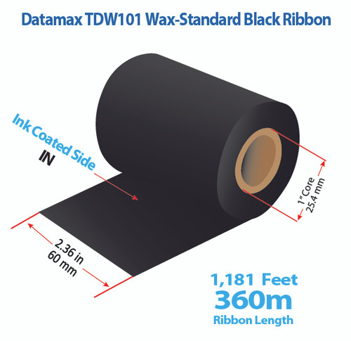 "Datamax 2.36"" x 1181 Feet TDW101 Wax Thermal Transfer Ribbon Roll"