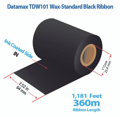 """Datamax 2.52"""" x 1181 Feet TDW101 Wax Thermal Transfer Ribbon Roll"""