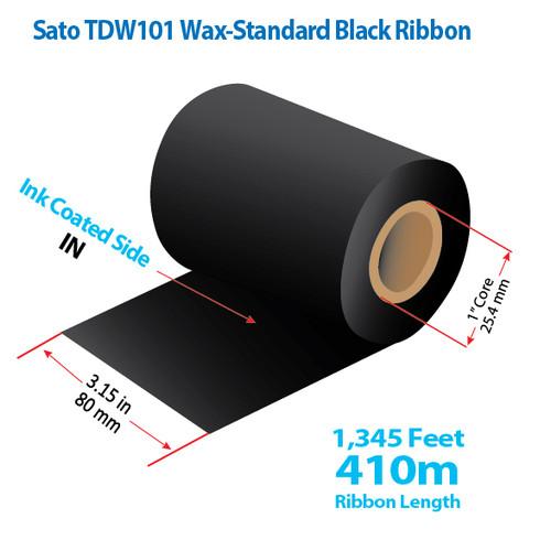 """Sato 3.15"""" x 1345 Feet TDW101 Wax Thermal Transfer Ribbon Roll"""