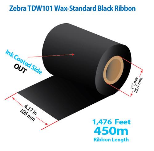 """Zebra 4.5"""" x 984 Feet TDW101 Wax Thermal Transfer Ribbon Roll"""