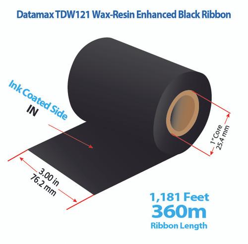 "Datamax 3"" x 1181 Feet TDW121 Resin Enhanced Wax Thermal Transfer Ribbon Roll"