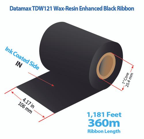 "Datamax 4.17"" x 1181 Feet TDW121 Resin Enhanced Wax Thermal Transfer Ribbon Roll"