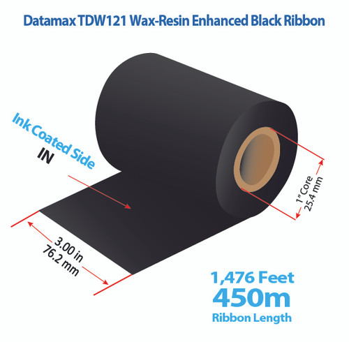 "Datamax 600/800 3"" x 1476 Feet TDW121 Resin Enhanced Wax Thermal Transfer Ribbon Roll"