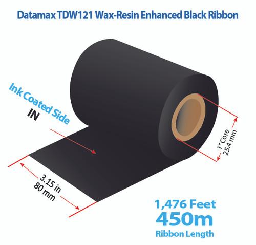 "Datamax 600/800 3.15"" x 1476 Feet TDW121 Resin Enhanced Wax Thermal Transfer Ribbon Roll"