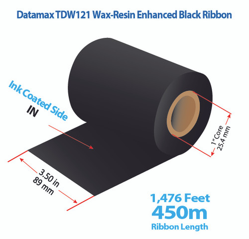 "Datamax 600/800 3.5"" x 1476 Feet TDW121 Resin Enhanced Wax Thermal Transfer Ribbon Roll"