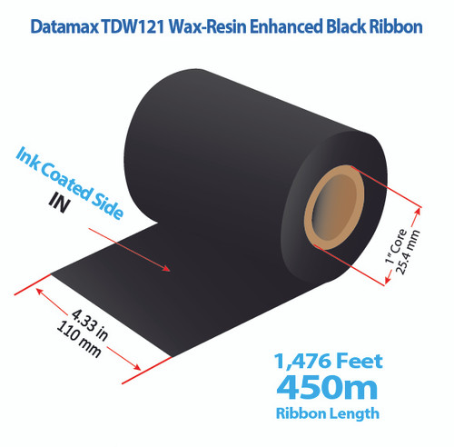"Datamax 600/800 4.33"" x 1476 Feet TDW121 Resin Enhanced Wax Thermal Transfer Ribbon Roll"