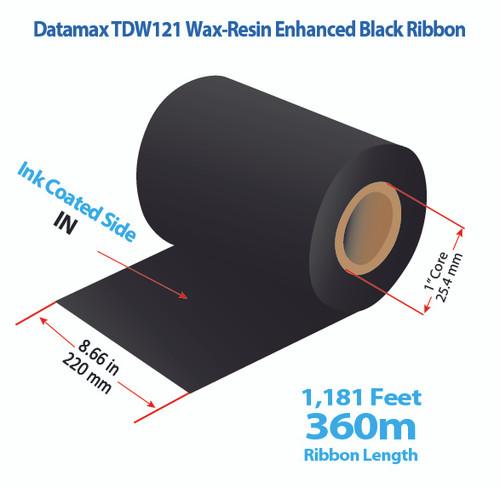 "Datamax 8.66"" x 1181 Feet TDW121 Resin Enhanced Wax Thermal Transfer Ribbon Roll"