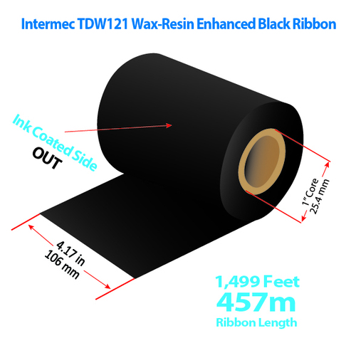 "Intermec 4420/4440 4.17"" x 1499 Feet TDW121 Resin Enhanced Wax Thermal Transfer Ribbon Roll"