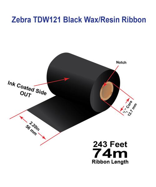 "Zebra TLP2824 2.20"" x 243 feet TDW121 Wax-Resin Enhanced Ribbon"