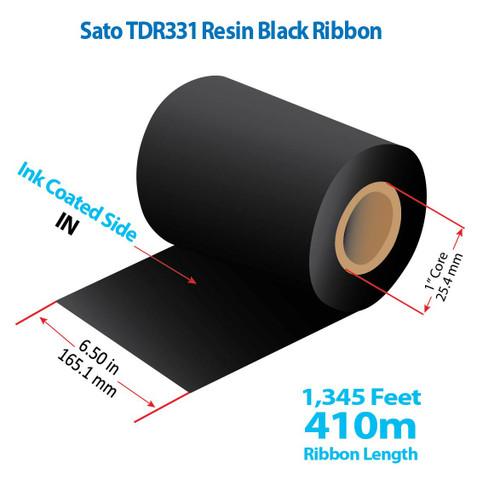 "Sato CL-608 6.5"" x 1345 Feet TDR331 Resin Thermal Transfer Ribbon Roll"