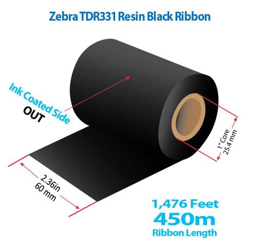 "Zebra 2.36"" x 1476 Feet TDR331 Resin Thermal Transfer Ribbon Roll"