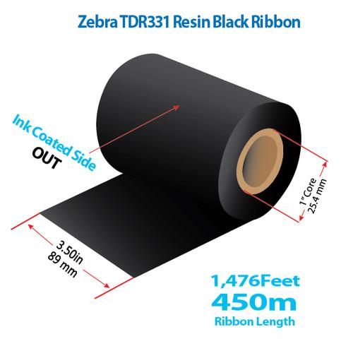 "Zebra 3.5"" x 1476 Feet TDR331 Resin Thermal Transfer Ribbon Roll"