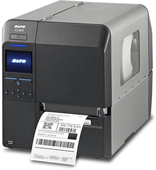 SATO CL408NX 203 dpi Thermal Transfer Label Printer w/ Dispenser/Rewinder/RTC/HF RFID