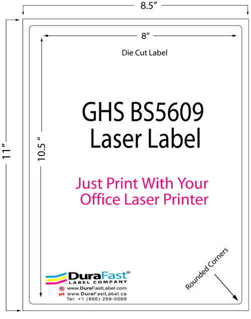 "8""x10.5"" GHS BS5609 Laser Label which can be printed with your office laser printers from HP and Lexmark"