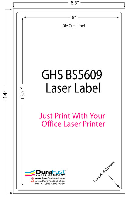 GHS BS5609 Laser Sheet Labels with 8x13.5 die cut label which can be printed with office laser printer. Sheet size 8.5x14
