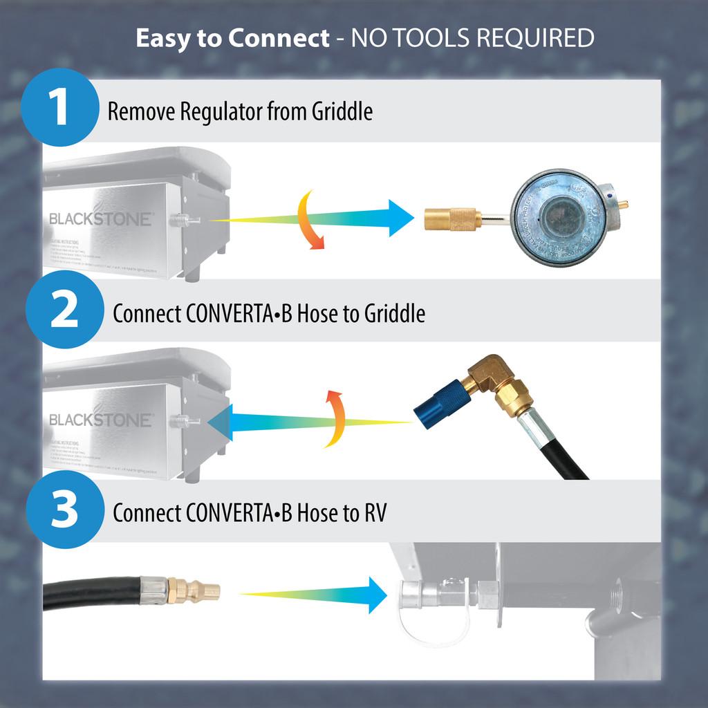 "CONVERTA•BL - 12 Ft. Hose RV Quick-Connect Kit compatible with Blackstone® 17""/22"" Griddles"
