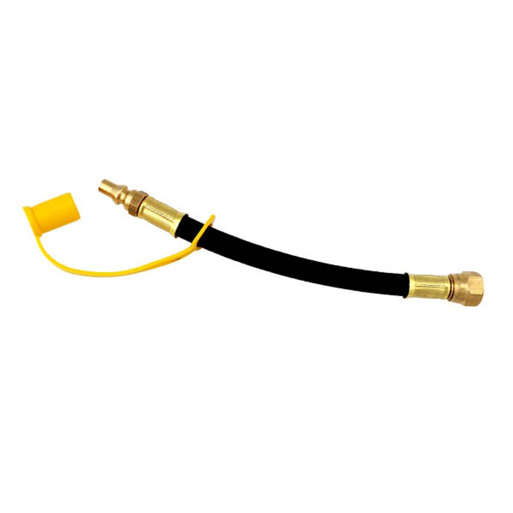 "9"" Low-Pressure Hose - 3/8"" Female Flare Swivel x 1/4"" Male Quick-Connect."