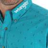 Men's Wrangler Long Sleeve Turquoise with Paisley Print