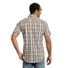 Men's Wrangler Retro Tan and Brown Plaid Short Sleeve Shirt