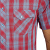 Men's Wrangler Retro Blue and Red Plaid Short Sleeve Shirt