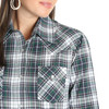 Women's Wrangler Navy and Green Long Sleeve Plaid Shirt