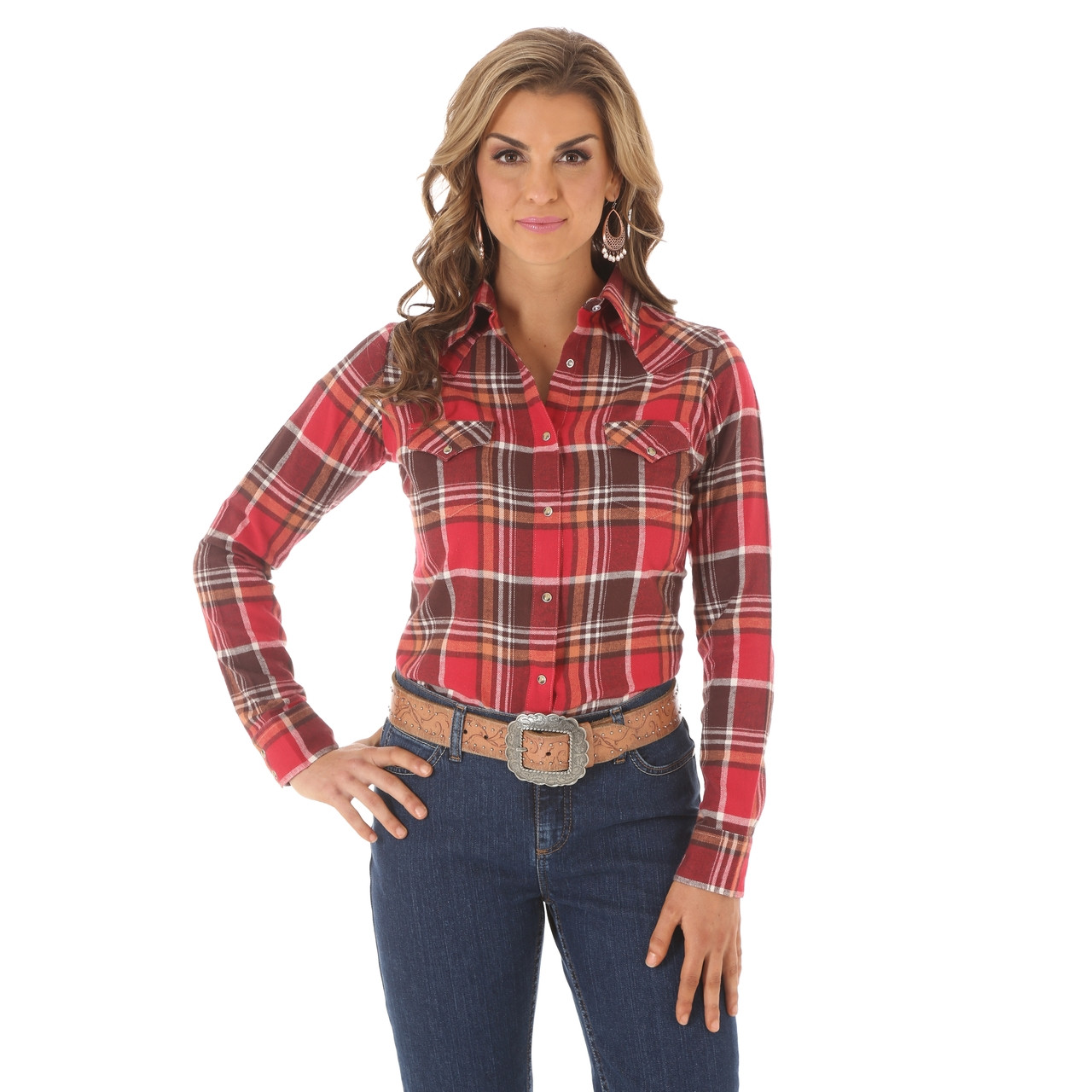 09d6f9af Women's Wrangler Red Brown Plaid Flannel Shirt - Herbert's Boots and  Western Wear