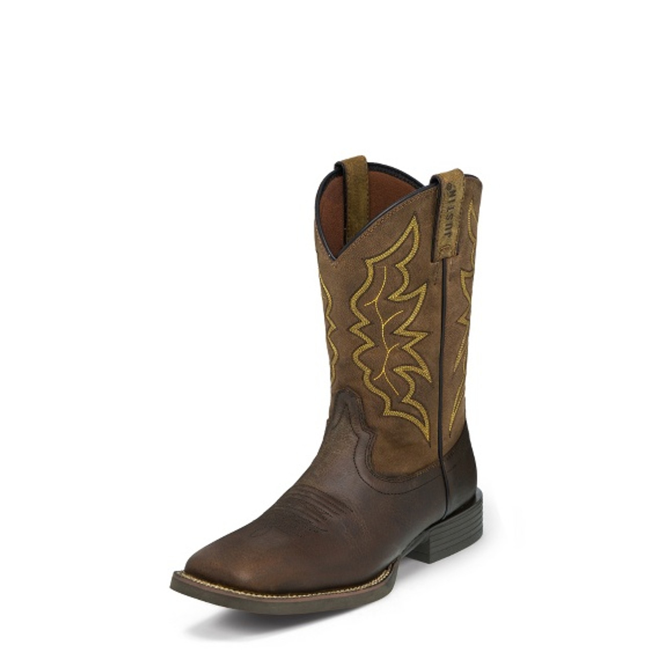 Men S Justin Brown Milled Wide Square Toe Stampede Western