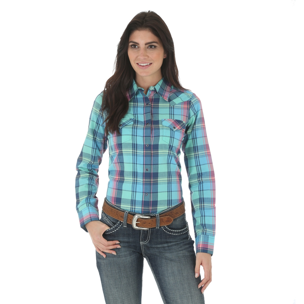 11eda03b Women's As Real As Wrangler Pink/Green/Navy Plaid Shirt - Herbert's Boots  and Western Wear
