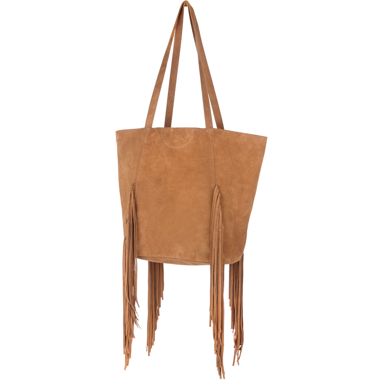 4d6abaddf53b6 Brave Pixie Fringed Whiskey Suede Tote Bag