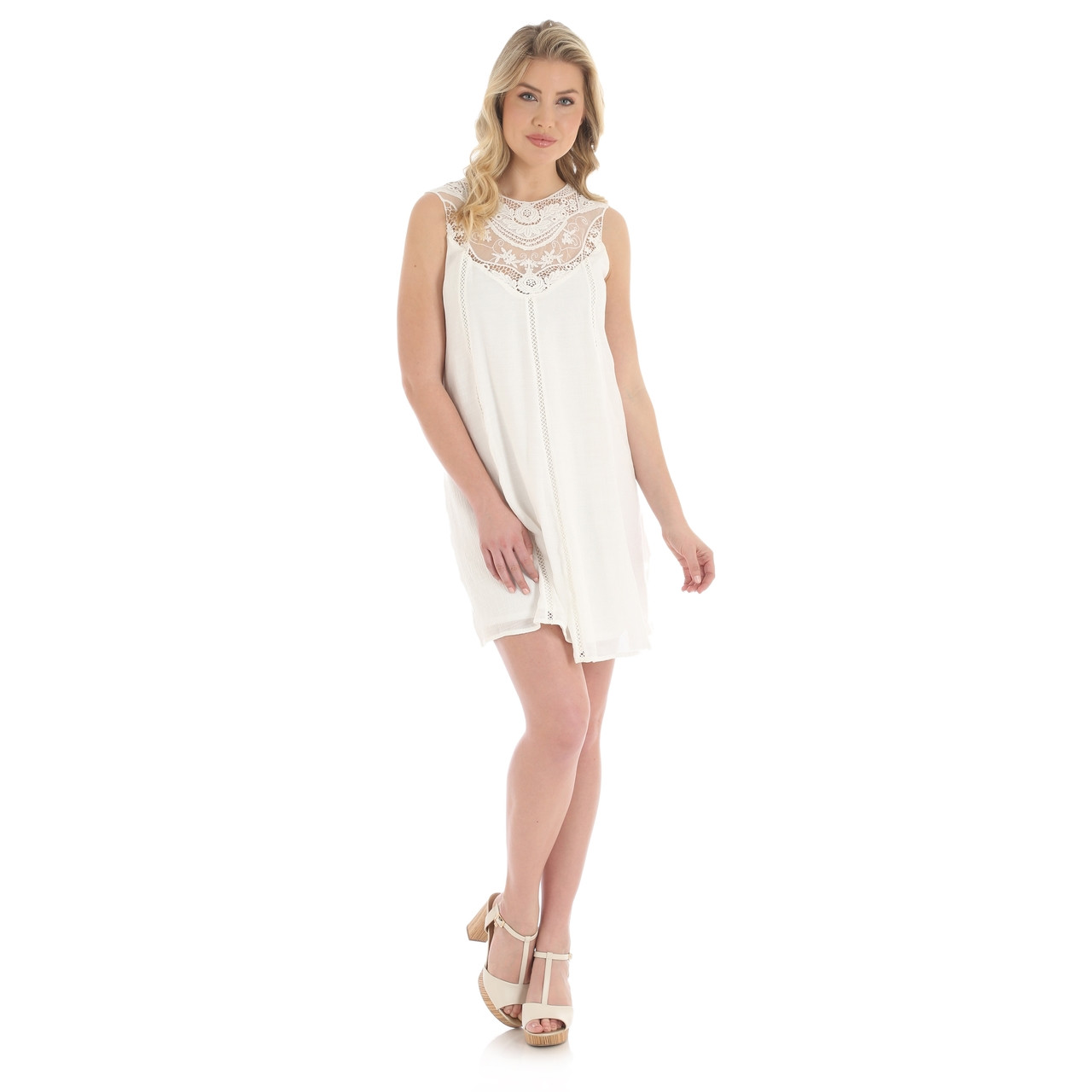 90533c177fa35 Wrangler Sleeveless Swing Dress with Lace - Herbert s Boots and ...