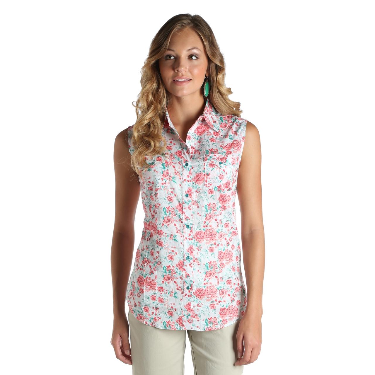 74272d68 Women's Wrangler Floral Print Sleeveless Shirt - Herbert's Boots and ...