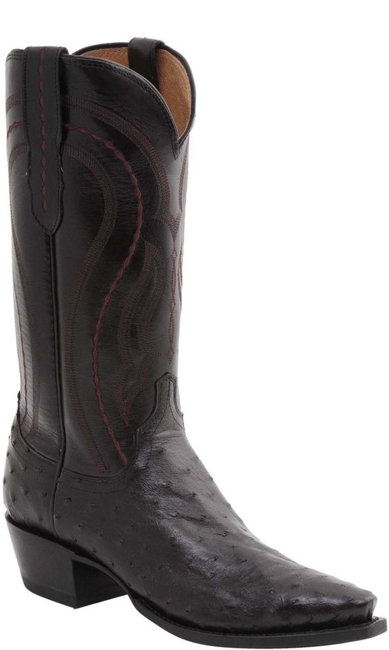 98eea985e12 Men's Lucchese Montana Black Cherry Full Quill Ostrich Western Boot