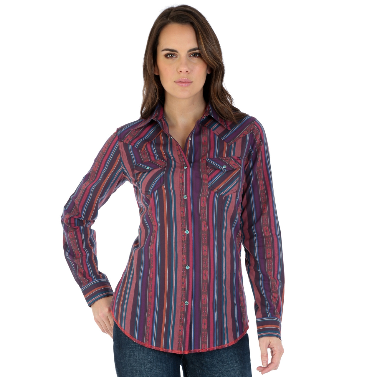 b9958a93 Women's Wrangler Pink and Purple Striped Shirt - Herbert's Boots and ...
