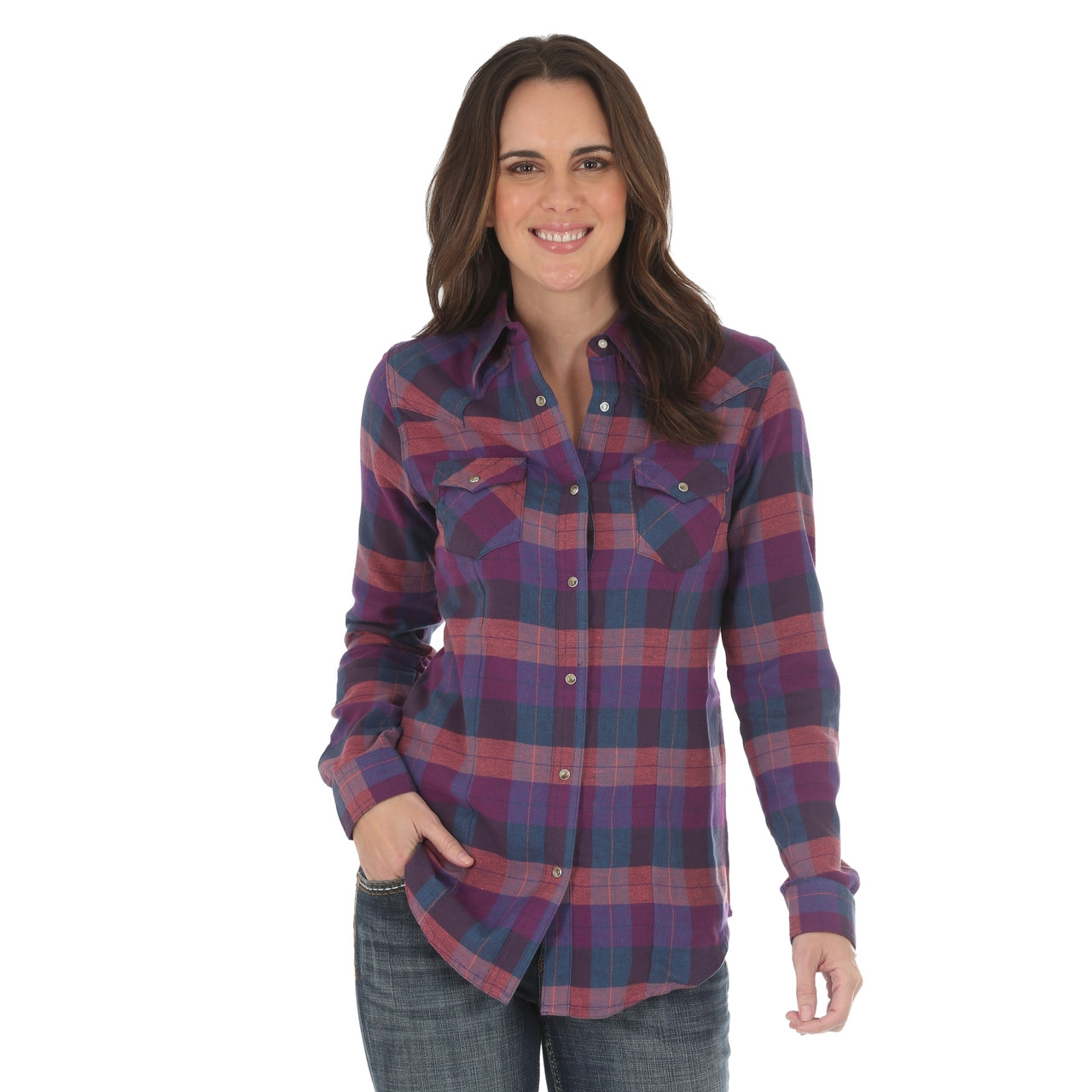 18942362 Women's Wrangler Purple and Teal Plaid Shirt - Herbert's Boots and ...