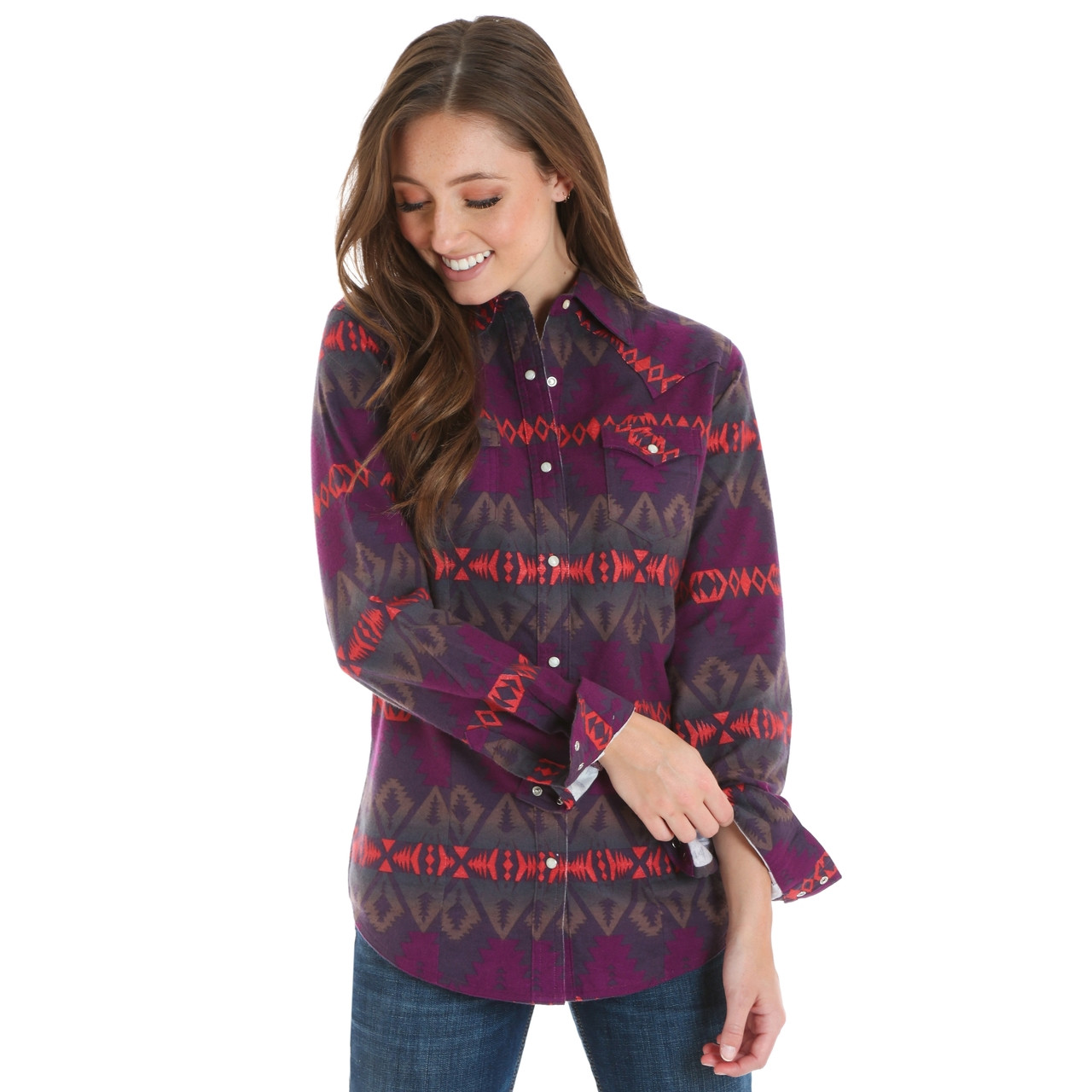 955be2ca Women's Wrangler Plum Purple Checotah Print Shirt - Herbert's Boots ...