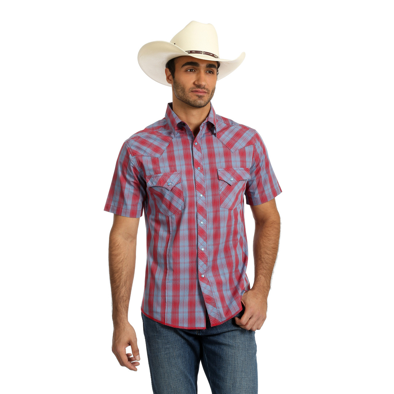 1c9ca1a5 Men's Wrangler Retro Blue and Red Plaid Short Sleeve Shirt - Herbert's  Boots and Western Wear