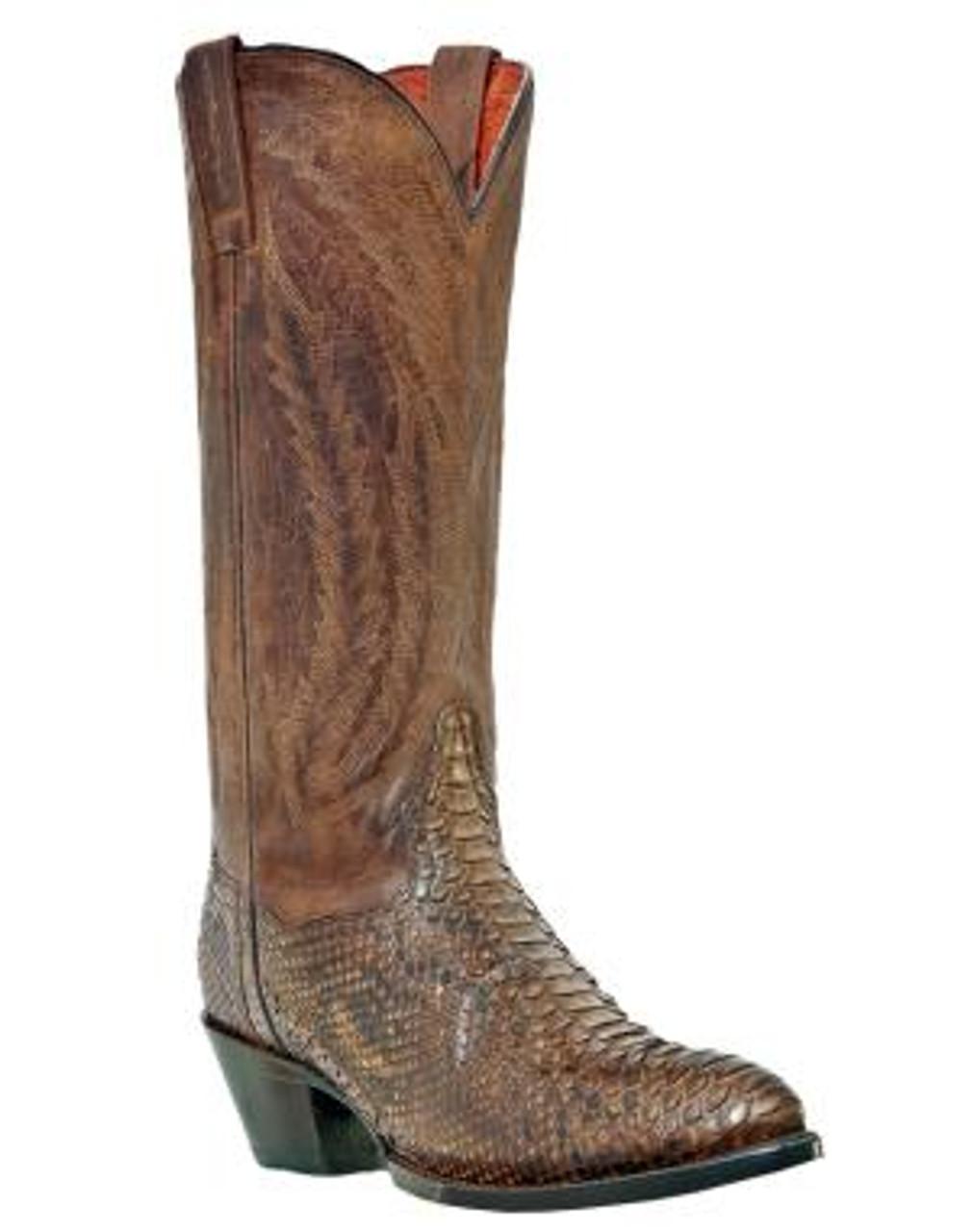 e3491fb4a1a Men's Dan Post Brown Python Snakeskin Cowboy Boot