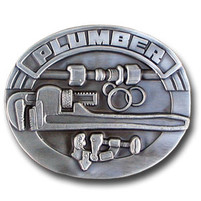 Pewter Plumber Belt Buckle