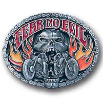 Fear No Evil Motorcycle Enamel Belt Buckle