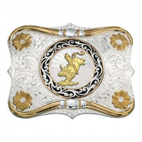 Montana Silversmiths Horns and Bull Rider Buckle