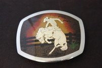 Sand-Painted Bronco Rider Belt Buckle