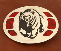 Grizzly Bear Belt Buckle with Blood Red Jasper Stones