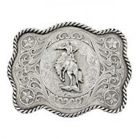 Montana Silversmiths Rustic Silver Bronc Rider Belt Buckle