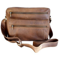 Adrian Klis Leather Messenger Bag with Extra Zippers