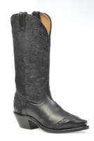 Women's Boulet Black Paisley Pattern Snip Toe Western Boot