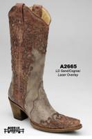 Women's Corral Sand/Cognac Laser Overlay Western Boot